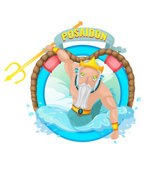 poseidon sea god character vector image