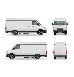Realistic cargo van advertising mockup vector