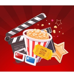 realistic of cinema glasses clapper popcor vector image vector image