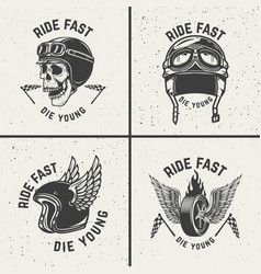 Ride fast die young racer helmets wheel with wings vector