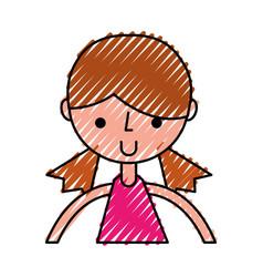 scribble upper body girl cartoon vector image