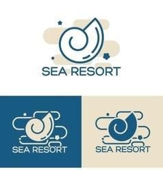 sea shell logo set vector image