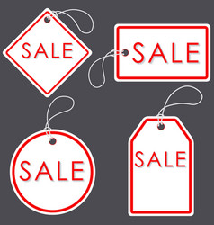 Set of bright white-red sale banners label and vector