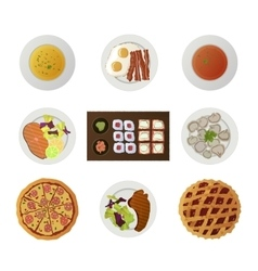 Set ofnine dishes from different world kitchens vector
