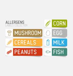 Sticker set for allergens vector