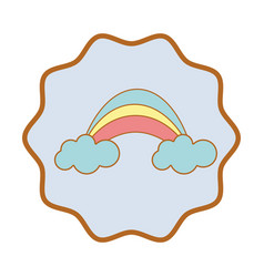 symbol beauty rainbow with clouds image vector image
