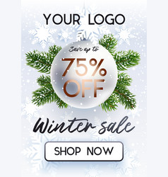 the christmas sale white banner for site vector image vector image