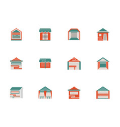 Trade and exhibition tents flat color icons vector