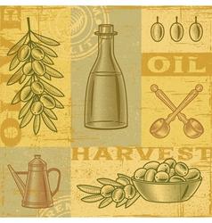 Vintage olive harvest background vector image vector image