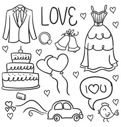 Wedding hand draw in doodles style vector