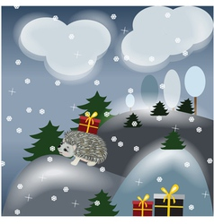 Winter fantasy landscape with hedgehog vector