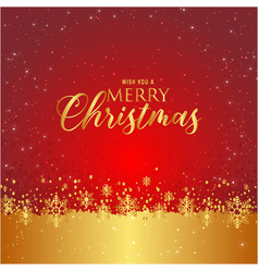 Wish you a merry christmas snowflake red gold back vector