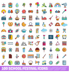 100 school festival icons set cartoon style vector image vector image