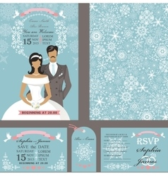 Wedding invitation cardsbridegroomwinter season vector