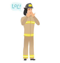 Young caucasian firefighter laughing out loud vector