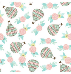 Seamless pattern with ar balloon and bouquet vector