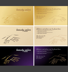 Set of business cards cosmetic and manicure vector