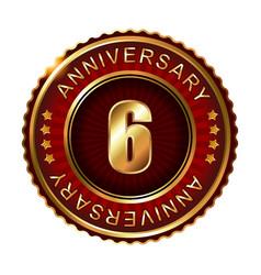 6 years anniversary golden label vector