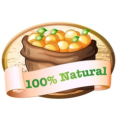 A hundred percent natural label with a sack of vector