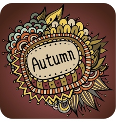 Autumn floral and leaves card design vector