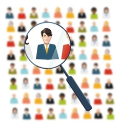Hr looking for worker in crowd vector