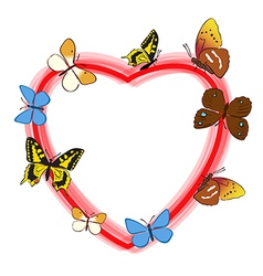Red heart with color butterflies - frame vector