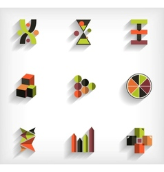 3d flat geometric abstract business icon set vector image vector image