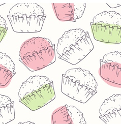 Outline seamless pattern with muffins vector