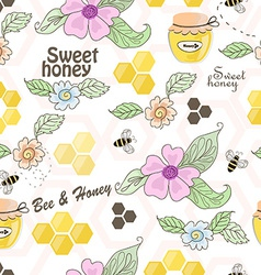 Seamless pattern of bees honeycombs honey and vector