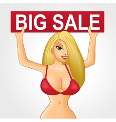 Blonde girl holding big sale banner vector