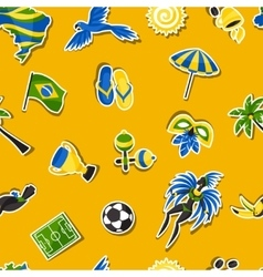 Brazil seamless pattern with sticker objects and vector