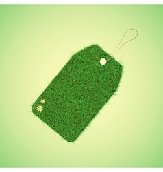 Green grass tag for spring design vector