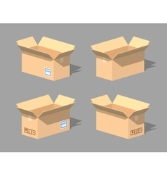 Low poly open empty cardboard box vector