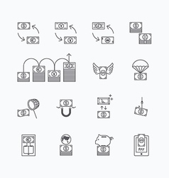Linear web icons set - business money currency vector
