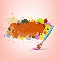 Abstract colorful ink with brush background vector