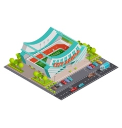 Sport stadium isometric outdoor composition banner vector
