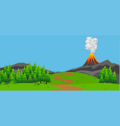 background scene with volcano and forest vector image vector image