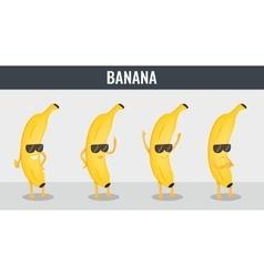 Banana funny cartoon fruits organic food vector