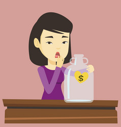 bankrupt woman looking at empty money box vector image