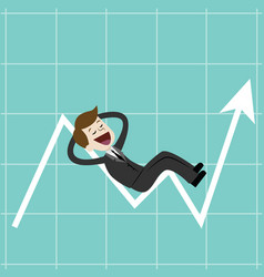 businessman on chart raise the graph to get a lot vector image vector image
