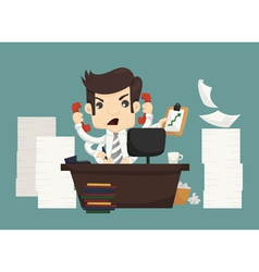 Businessman work hard and busy vector image vector image
