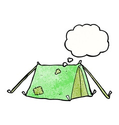 Cartoon traditional tent with thought bubble vector