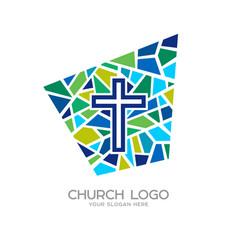 church logo christian symbols cross of jesus vector image