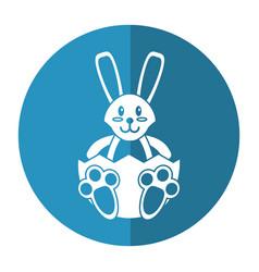 Easter bunny with broken egg shadow vector