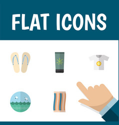 Flat icon season set of ocean moisturizer beach vector