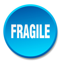 Fragile blue round flat isolated push button vector