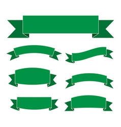Green banners set beautiful blank decoration vector