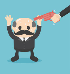 Gun point to businessman head business concept vector