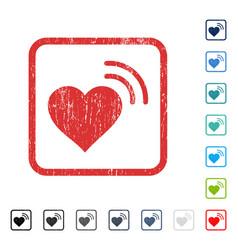 Heart radio signal icon rubber watermark vector