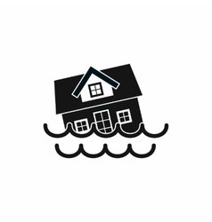 House sinking in a water icon simple style vector